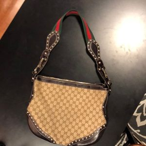 Authentic Gucci Horsebit Studded Canvas Hobo Bag